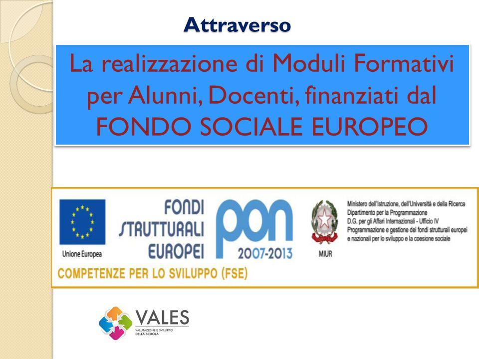 Attraverso La realizzazione di Moduli Formativi per Alunni, Docenti, finanziati dal FONDO SOCIALE EUROPEO