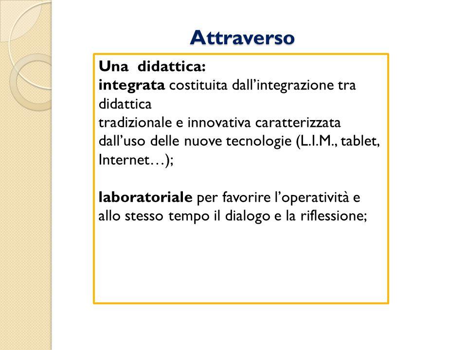 Attraverso Una didattica: integrata costituita dall'integrazione tra didattica tradizionale e innovativa caratterizzata dall'uso delle nuove tecnologi