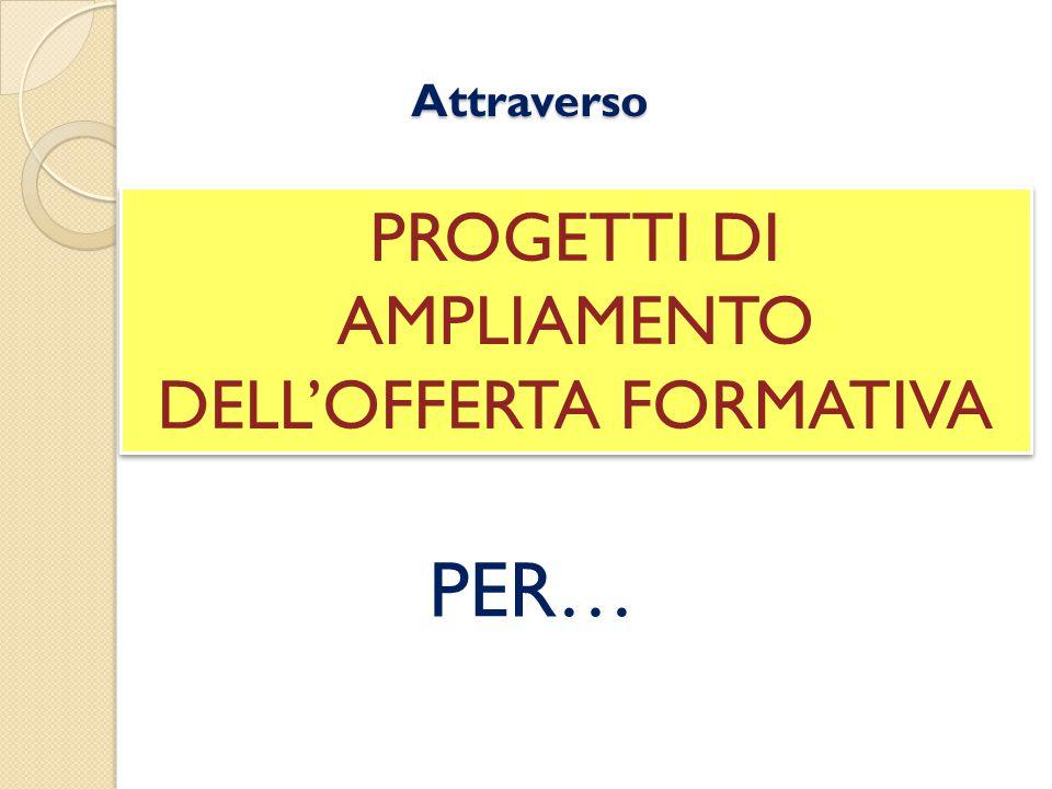 Attraverso PROGETTI DI AMPLIAMENTO DELL'OFFERTA FORMATIVA PER…