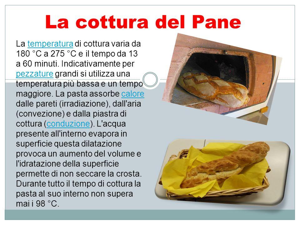 La cottura del Pane La temperatura di cottura varia da 180 °C a 275 °C e il tempo da 13 a 60 minuti. Indicativamente per pezzature grandi si utilizza