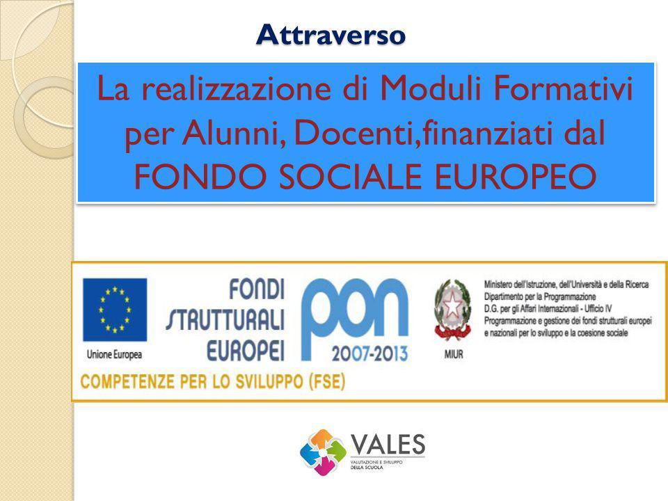 Attraverso La realizzazione di Moduli Formativi per Alunni, Docenti,finanziati dal FONDO SOCIALE EUROPEO