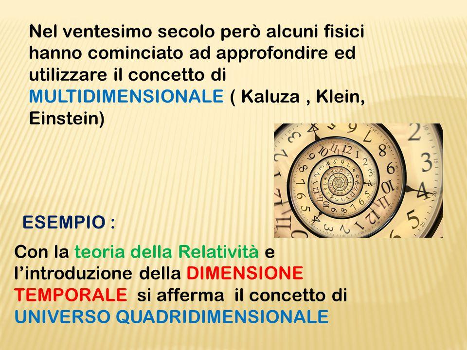 Nel ventesimo secolo però alcuni fisici hanno cominciato ad approfondire ed utilizzare il concetto di MULTIDIMENSIONALE ( Kaluza, Klein, Einstein) Con