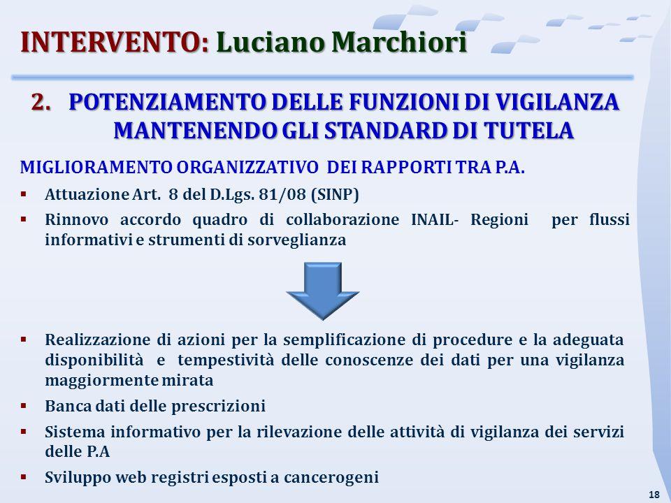 18 2.POTENZIAMENTO DELLE FUNZIONI DI VIGILANZA MANTENENDO GLI STANDARD DI TUTELA MIGLIORAMENTO ORGANIZZATIVO DEI RAPPORTI TRA P.A.