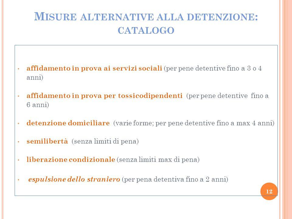 M ISURE ALTERNATIVE ALLA DETENZIONE : CATALOGO affidamento in prova ai servizi sociali (per pene detentive fino a 3 o 4 anni) affidamento in prova per