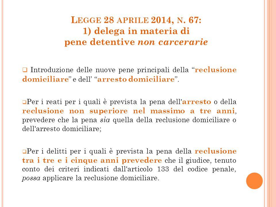 """L EGGE 28 APRILE 2014, N. 67: 1) delega in materia di pene detentive non carcerarie  Introduzione delle nuove pene principali della """" reclusione domi"""
