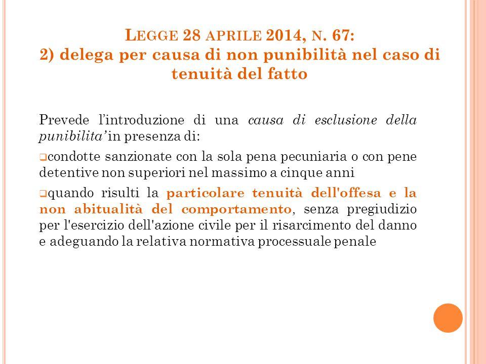 L EGGE 28 APRILE 2014, N. 67: 2) delega per causa di non punibilità nel caso di tenuità del fatto Prevede l'introduzione di una causa di esclusione de