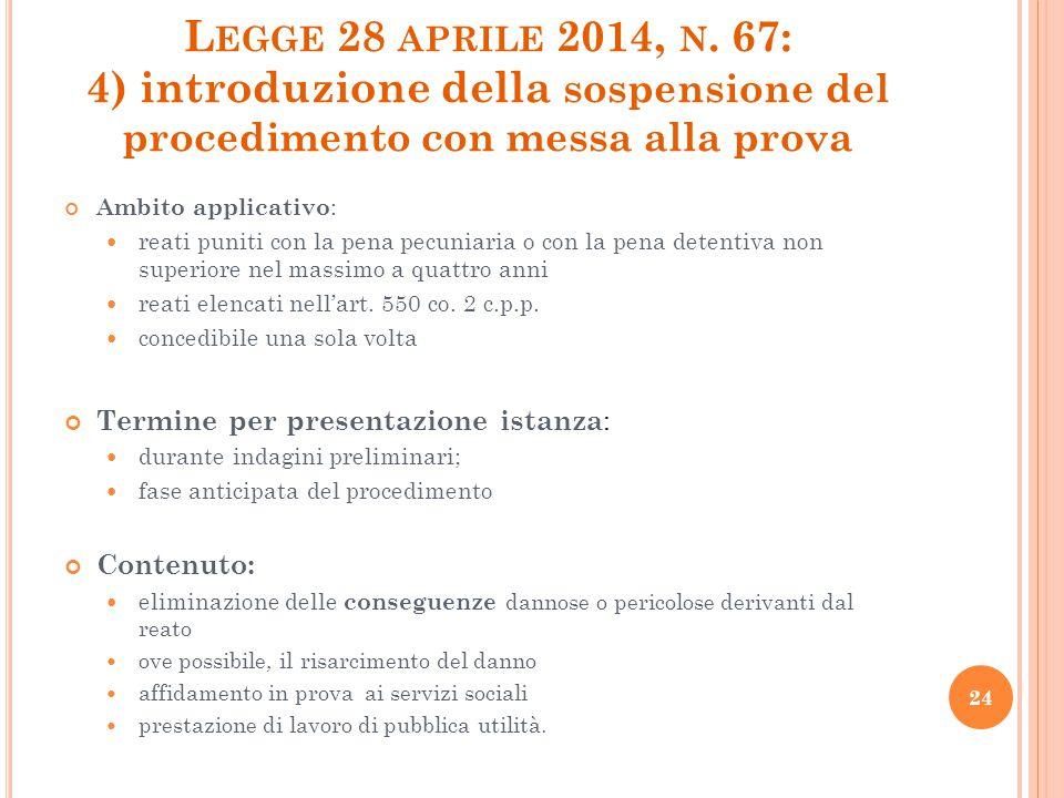 L EGGE 28 APRILE 2014, N. 67: 4) introduzione della sospensione del procedimento con messa alla prova Ambito applicativo : reati puniti con la pena pe
