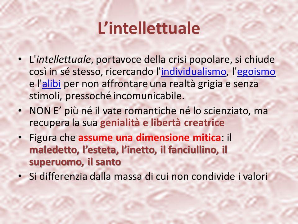 L'intellettuale L'intellettuale, portavoce della crisi popolare, si chiude così in sé stesso, ricercando l'individualismo, l'egoismo e l'alibi per non