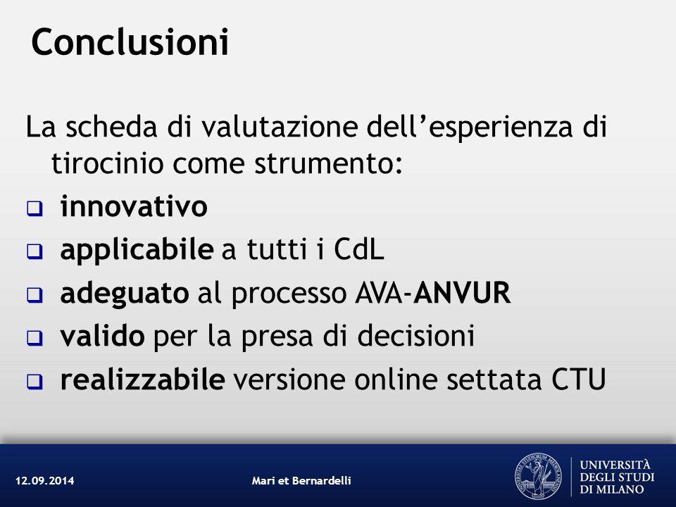 Conclusioni Mari et Bernardelli12.09.2014 La scheda di valutazione dell'esperienza di tirocinio come strumento:  innovativo  applicabile a tutti i C