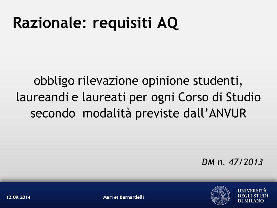 Razionale: requisiti AQ obbligo rilevazione opinione studenti, laureandi e laureati per ogni Corso di Studio secondo modalità previste dall'ANVUR Mari