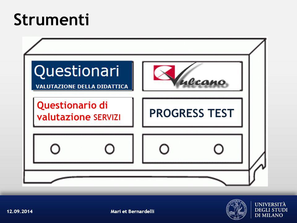 Mari et Bernardelli12.09.2014 Questionario di valutazione SERVIZI PROGRESS TEST Strumenti