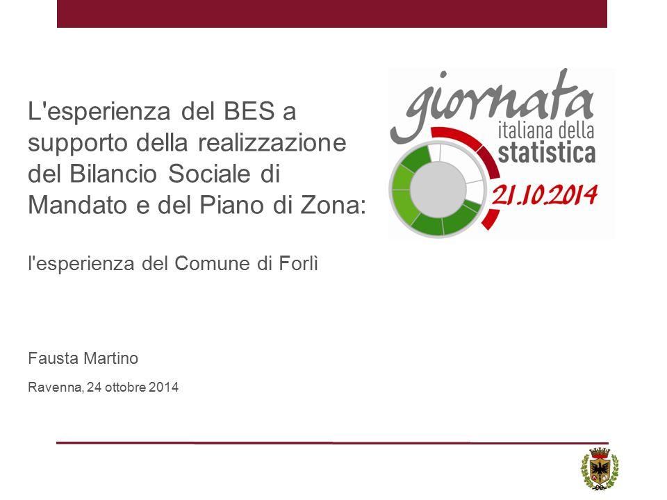 L esperienza del BES a supporto della realizzazione del Bilancio Sociale di Mandato e del Piano di Zona: l esperienza del Comune di Forlì Fausta Martino Ravenna, 24 ottobre 2014