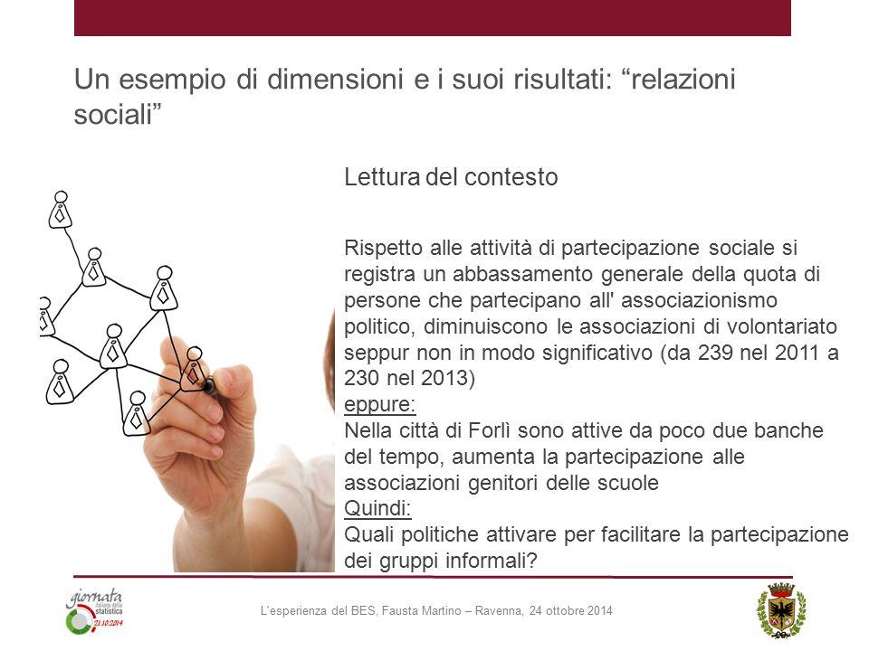 """Un esempio di dimensioni e i suoi risultati: """"relazioni sociali"""" Lettura del contesto Rispetto alle attività di partecipazione sociale si registra un"""