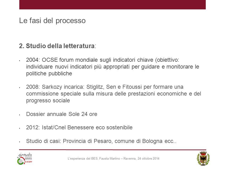 Le fasi del processo 2. Studio della letteratura: 2004: OCSE forum mondiale sugli indicatori chiave (obiettivo: individuare nuovi indicatori più appro