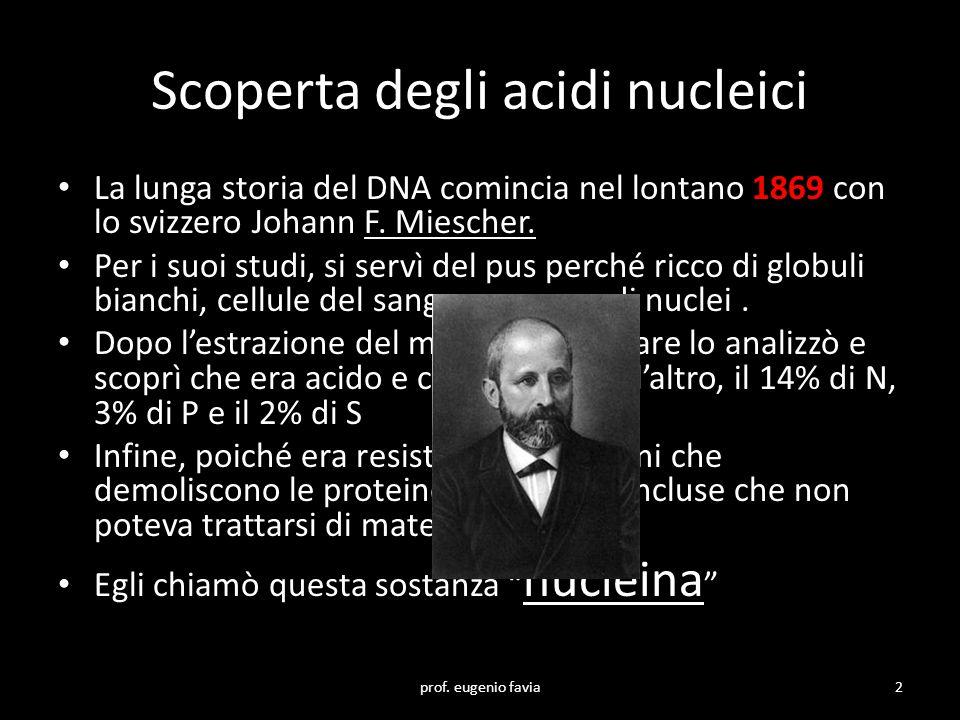 Scoperta degli acidi nucleici La lunga storia del DNA comincia nel lontano 1869 con lo svizzero Johann F. Miescher. Per i suoi studi, si servì del pus