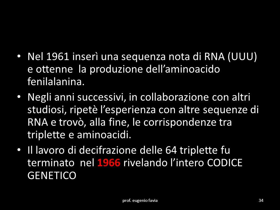 Nel 1961 inserì una sequenza nota di RNA (UUU) e ottenne la produzione dell'aminoacido fenilalanina. Negli anni successivi, in collaborazione con altr