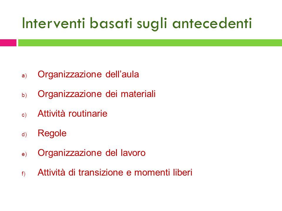 Interventi basati sugli antecedenti a) Organizzazione dell'aula b) Organizzazione dei materiali c) Attività routinarie d) Regole e) Organizzazione del