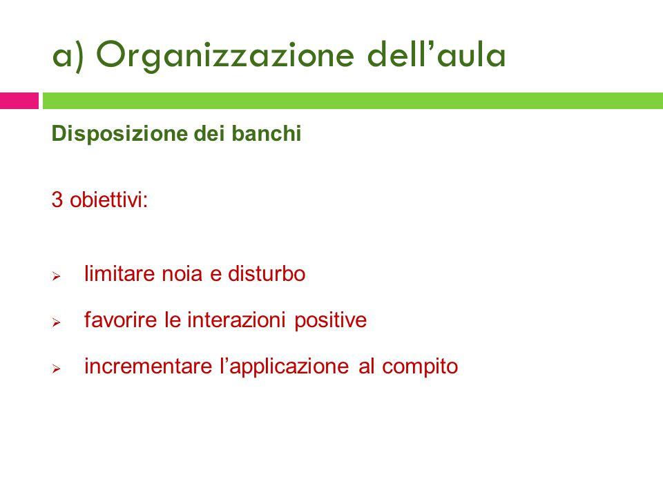 a) Organizzazione dell'aula Disposizione dei banchi 3 obiettivi:  limitare noia e disturbo  favorire le interazioni positive  incrementare l'applic