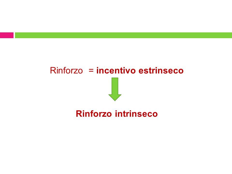 Rinforzo = incentivo estrinseco Rinforzo intrinseco