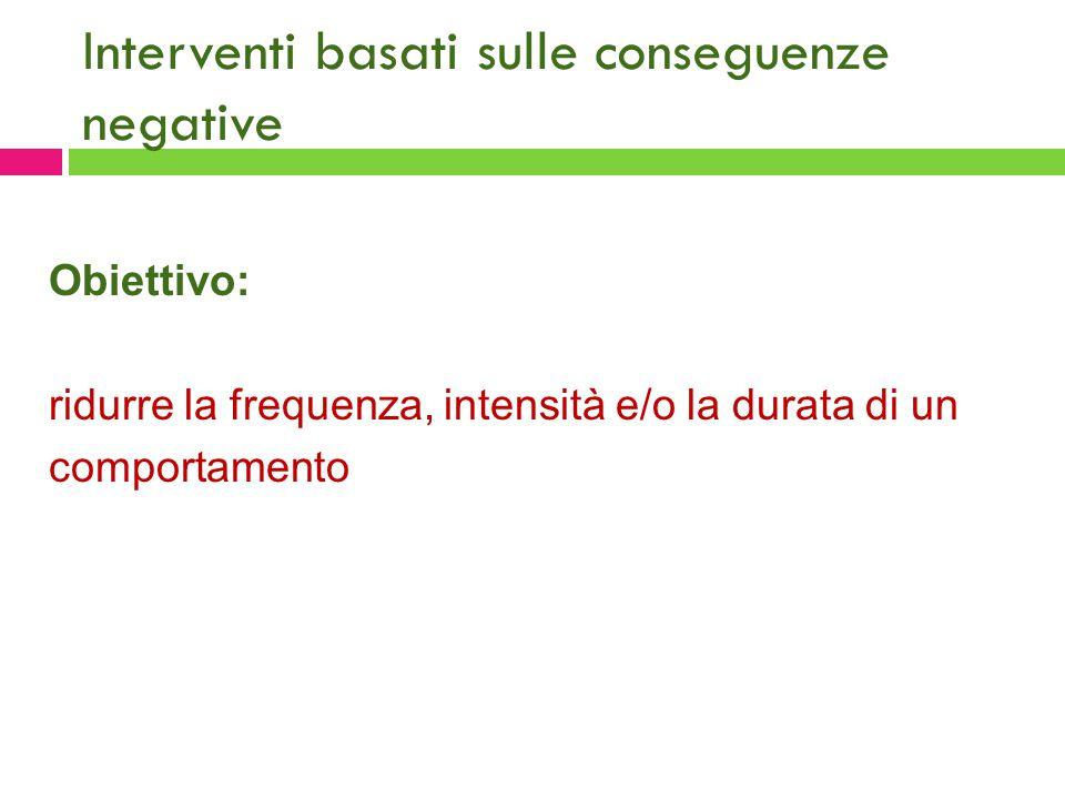 Interventi basati sulle conseguenze negative Obiettivo: ridurre la frequenza, intensità e/o la durata di un comportamento