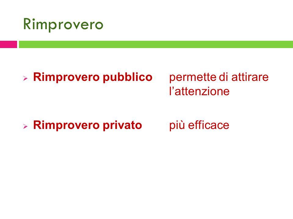 Rimprovero  Rimprovero pubblicopermette di attirare l'attenzione  Rimprovero privatopiù efficace