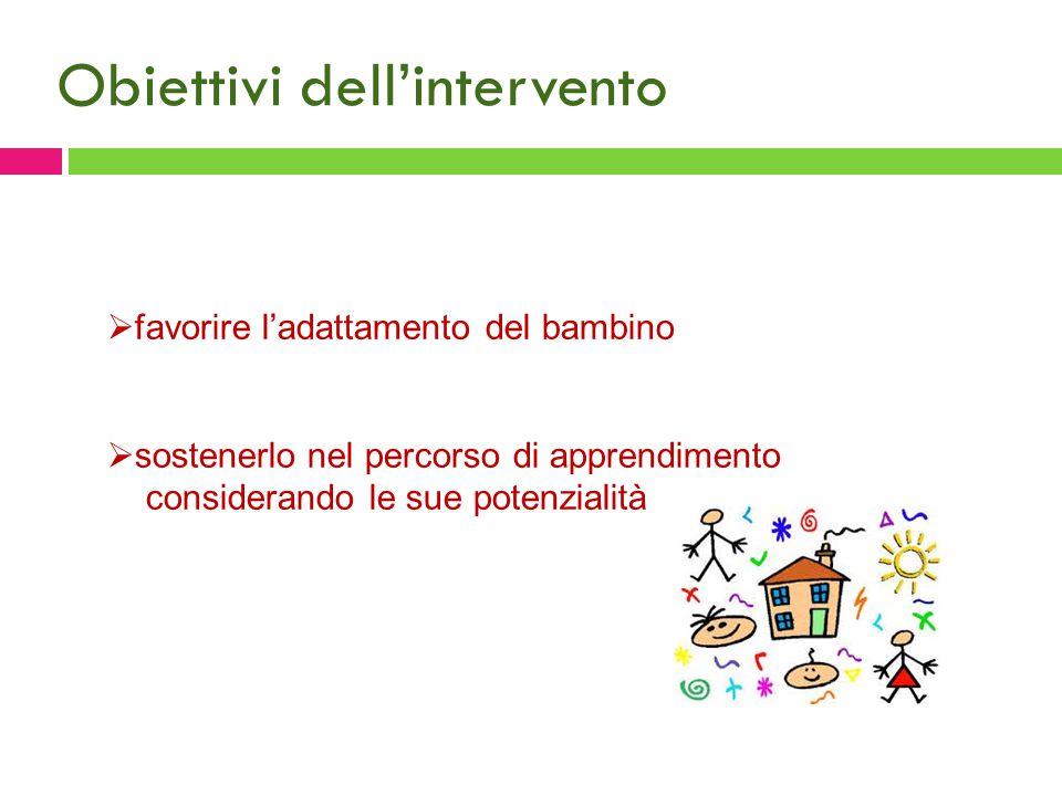 Obiettivi dell'intervento  favorire l'adattamento del bambino  sostenerlo nel percorso di apprendimento considerando le sue potenzialità