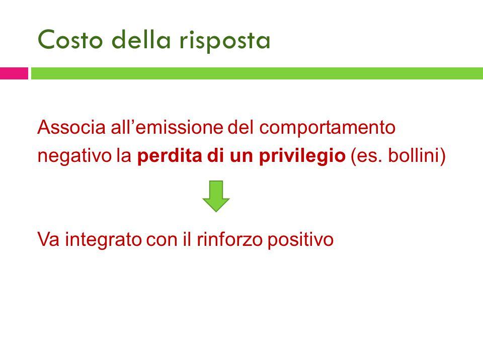 Costo della risposta Associa all'emissione del comportamento negativo la perdita di un privilegio (es. bollini) Va integrato con il rinforzo positivo