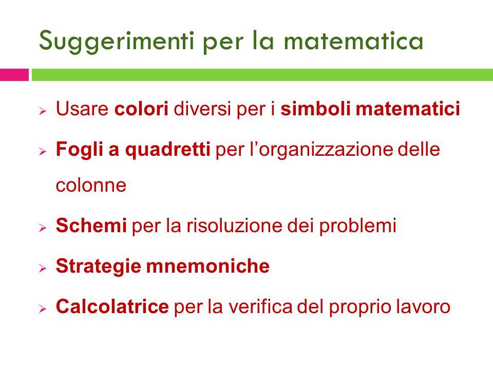 Suggerimenti per la matematica  Usare colori diversi per i simboli matematici  Fogli a quadretti per l'organizzazione delle colonne  Schemi per la