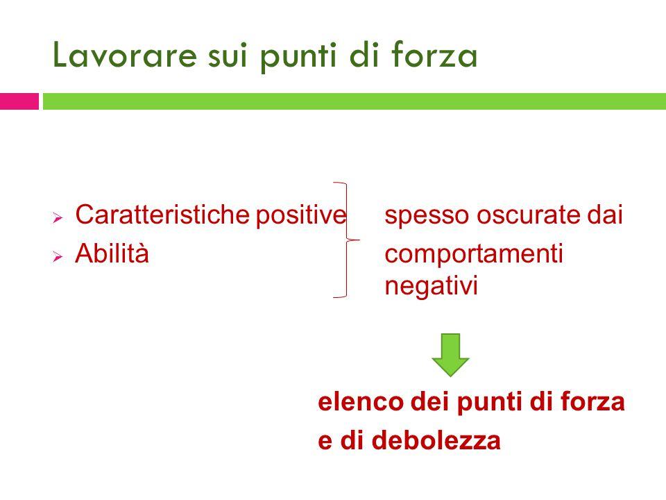Lavorare sui punti di forza  Caratteristiche positivespesso oscurate dai  Abilità comportamenti negativi elenco dei punti di forza e di debolezza