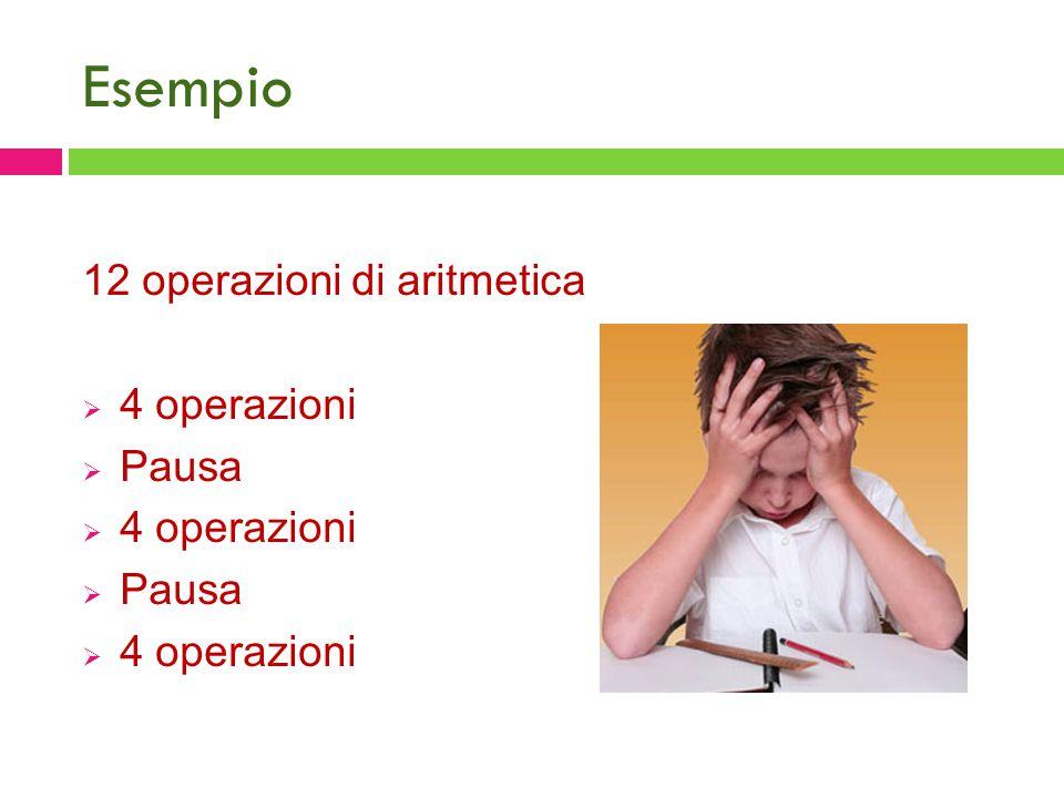 Esempio 12 operazioni di aritmetica  4 operazioni  Pausa  4 operazioni  Pausa  4 operazioni