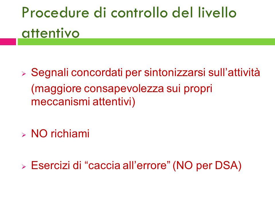 Procedure di controllo del livello attentivo  Segnali concordati per sintonizzarsi sull'attività (maggiore consapevolezza sui propri meccanismi atten