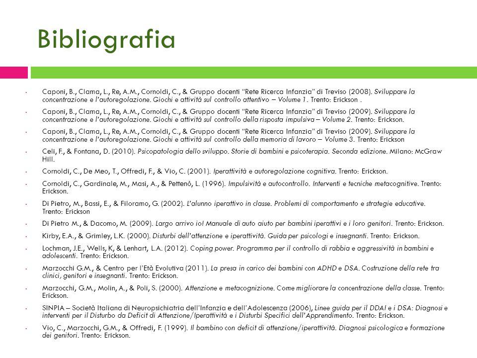 """Bibliografia Caponi, B., Clama, L., Re, A.M., Cornoldi, C., & Gruppo docenti """"Rete Ricerca Infanzia"""" di Treviso (2008). Sviluppare la concentrazione e"""