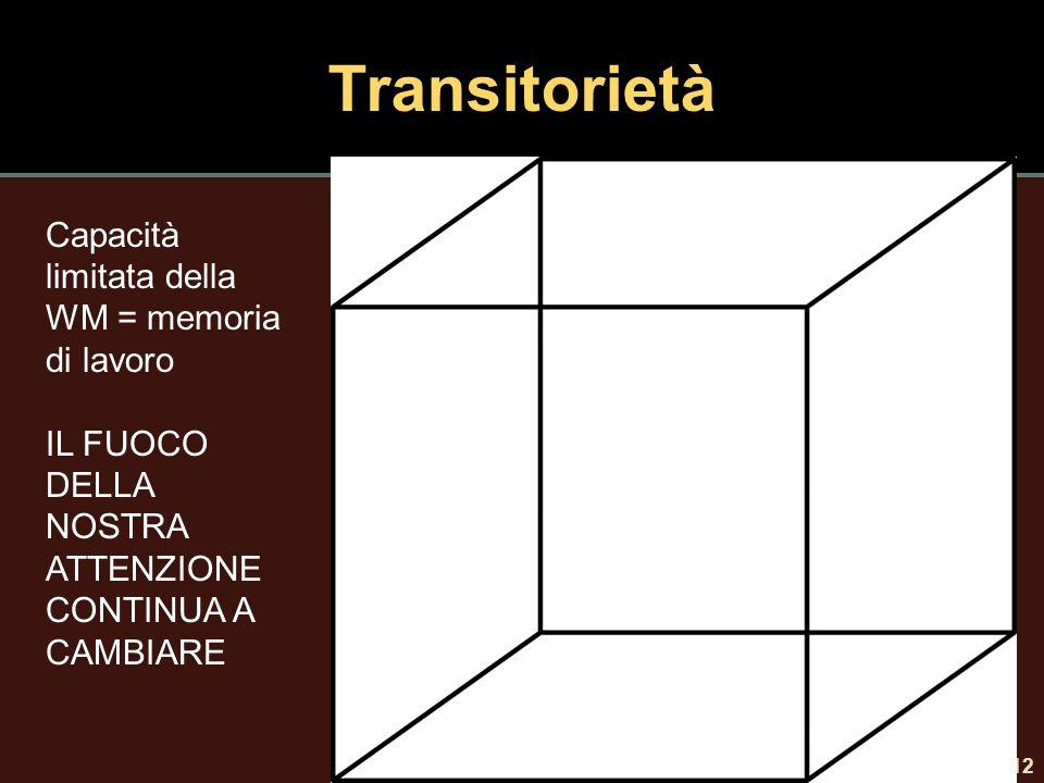 Transitorietà 12 Capacità limitata della WM = memoria di lavoro IL FUOCO DELLA NOSTRA ATTENZIONE CONTINUA A CAMBIARE