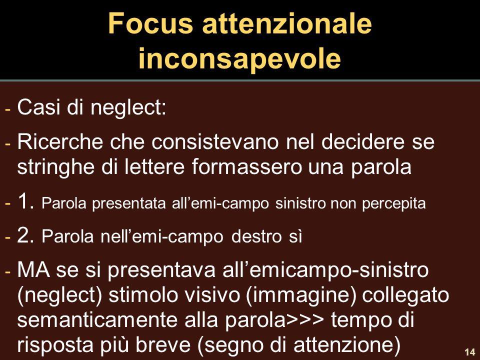 Focus attenzionale inconsapevole - Casi di neglect: - Ricerche che consistevano nel decidere se stringhe di lettere formassero una parola - 1. Parola