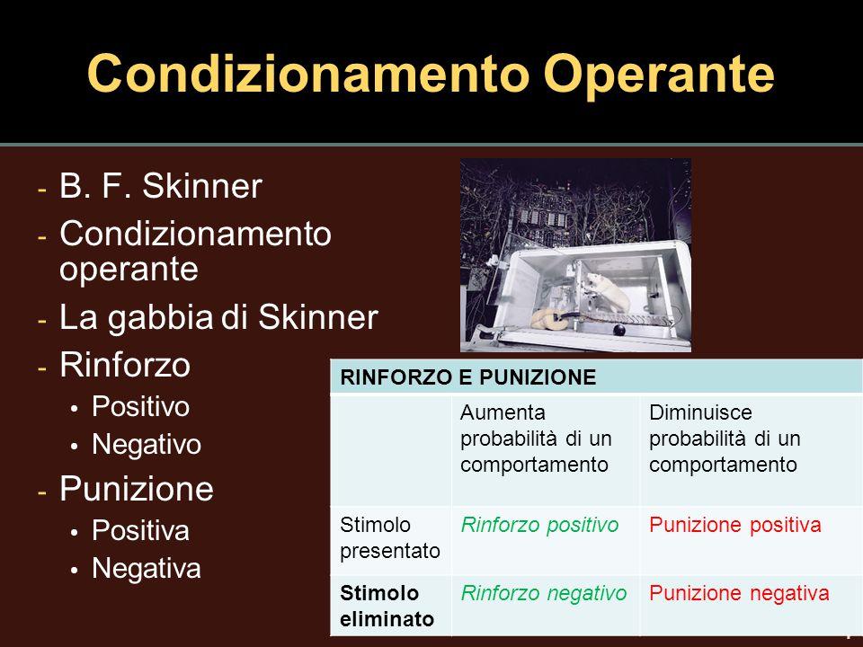 7 Condizionamento Operante - B. F. Skinner - Condizionamento operante - La gabbia di Skinner - Rinforzo Positivo Negativo - Punizione Positiva Negativ