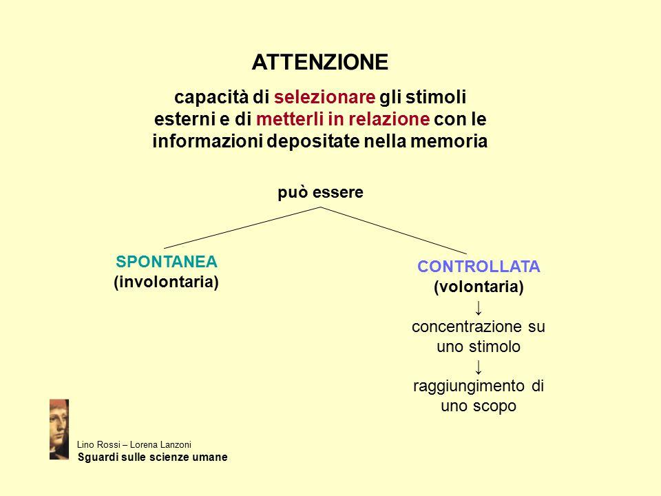 ATTENZIONE capacità di selezionare gli stimoli esterni e di metterli in relazione con le informazioni depositate nella memoria può essere SPONTANEA (i
