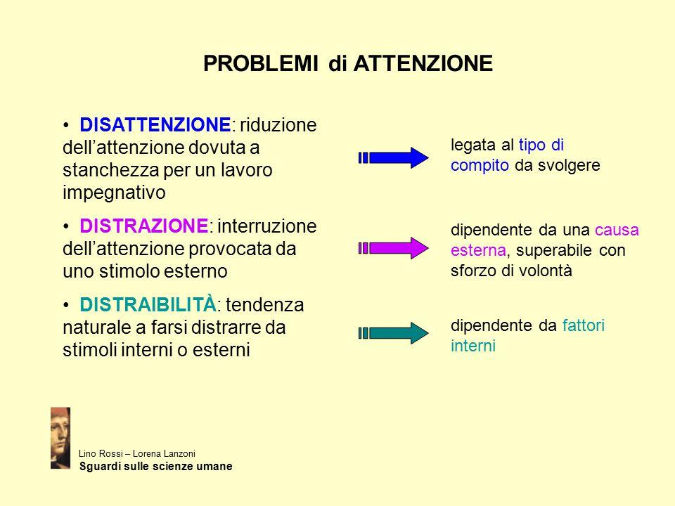 PROBLEMI di ATTENZIONE Lino Rossi – Lorena Lanzoni Sguardi sulle scienze umane DISATTENZIONE: riduzione dell'attenzione dovuta a stanchezza per un lav