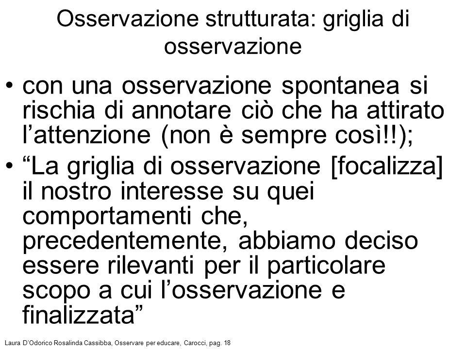 """con una osservazione spontanea si rischia di annotare ciò che ha attirato l'attenzione (non è sempre così!!); """"La griglia di osservazione [focalizza]"""
