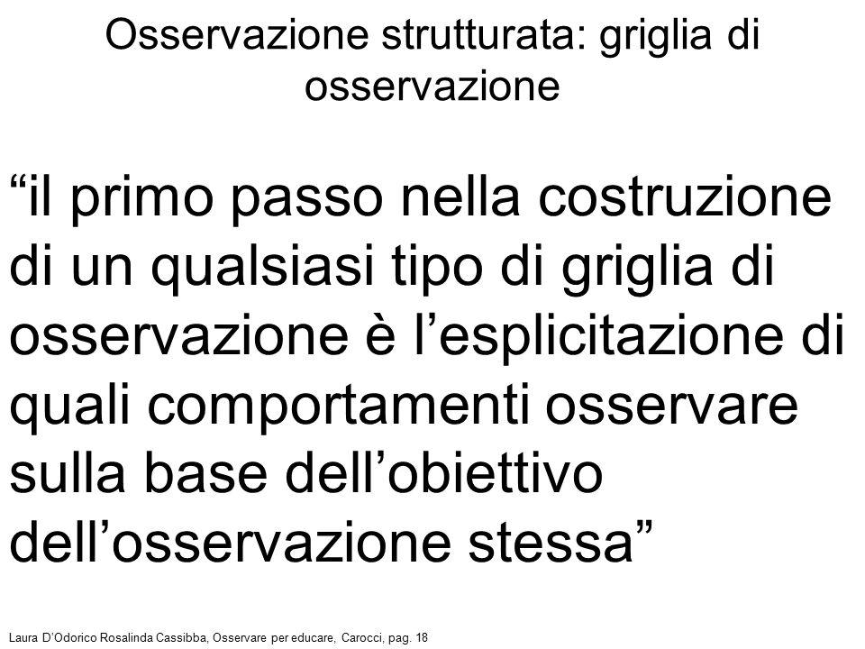 """""""il primo passo nella costruzione di un qualsiasi tipo di griglia di osservazione è l'esplicitazione di quali comportamenti osservare sulla base dell'"""