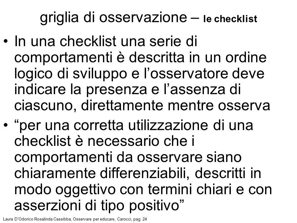 In una checklist una serie di comportamenti è descritta in un ordine logico di sviluppo e l'osservatore deve indicare la presenza e l'assenza di ciasc