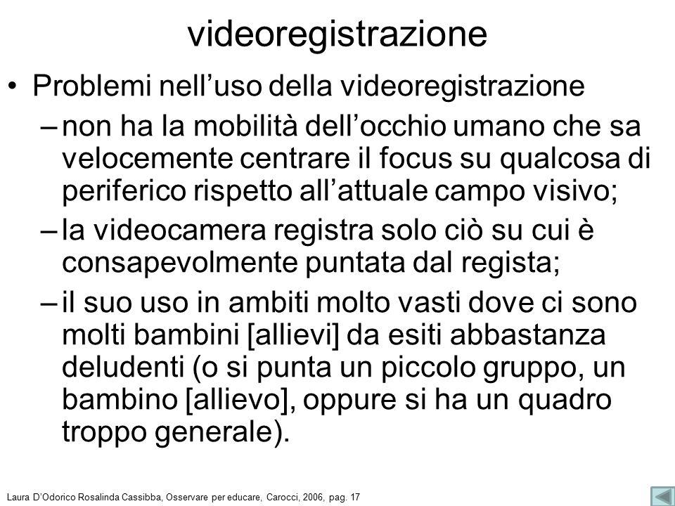 Problemi nell'uso della videoregistrazione –non ha la mobilità dell'occhio umano che sa velocemente centrare il focus su qualcosa di periferico rispet