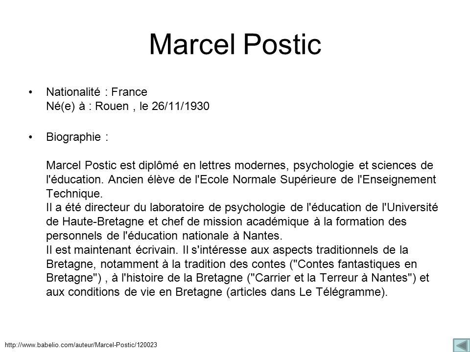 Marcel Postic Nationalité : France Né(e) à : Rouen, le 26/11/1930 Biographie : Marcel Postic est diplômé en lettres modernes, psychologie et sciences