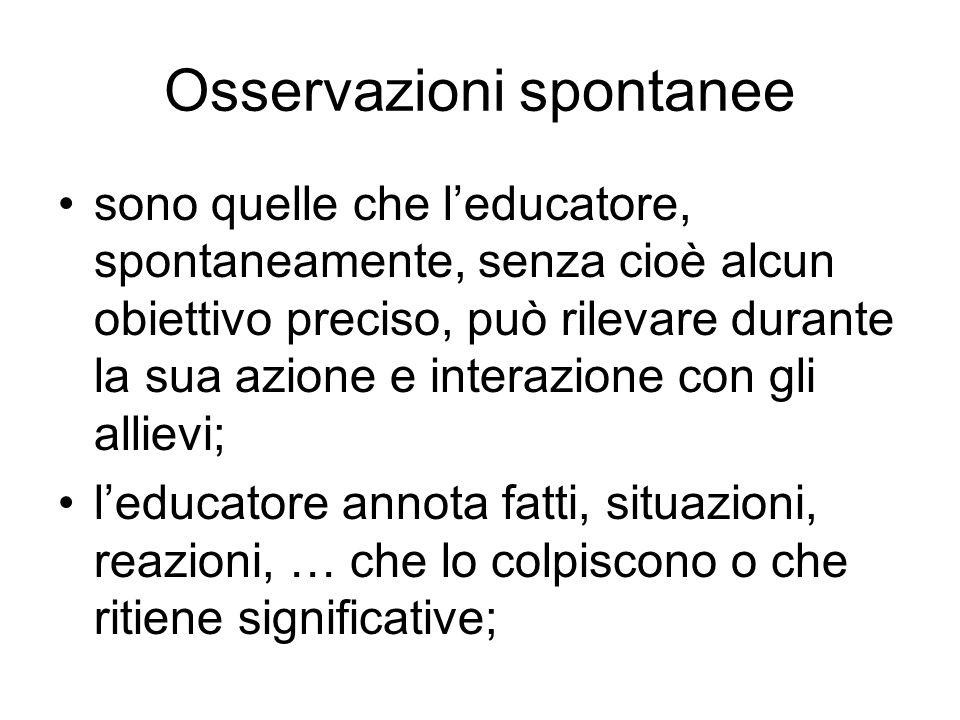Osservazioni spontanee sono quelle che l'educatore, spontaneamente, senza cioè alcun obiettivo preciso, può rilevare durante la sua azione e interazio