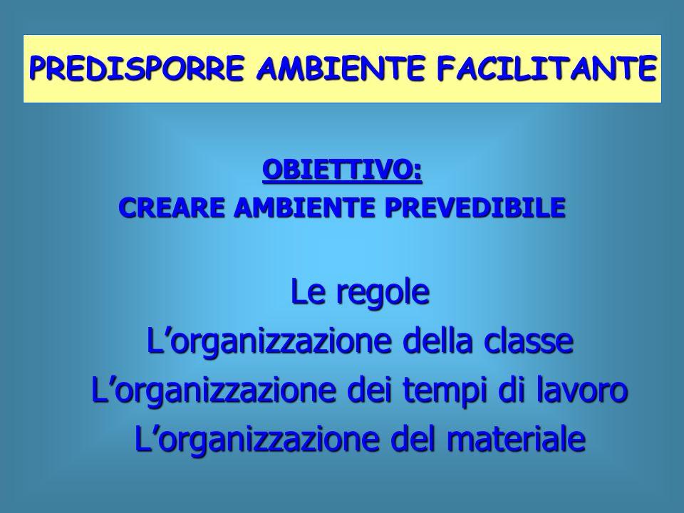 OBIETTIVO: CREARE AMBIENTE PREVEDIBILE Le regole L'organizzazione della classe L'organizzazione dei tempi di lavoro L'organizzazione del materiale PRE