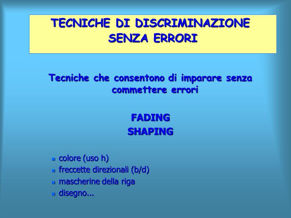Tecniche che consentono di imparare senza commettere errori FADINGSHAPING n colore (uso h) n freccette direzionali (b/d) n mascherine della riga n dis