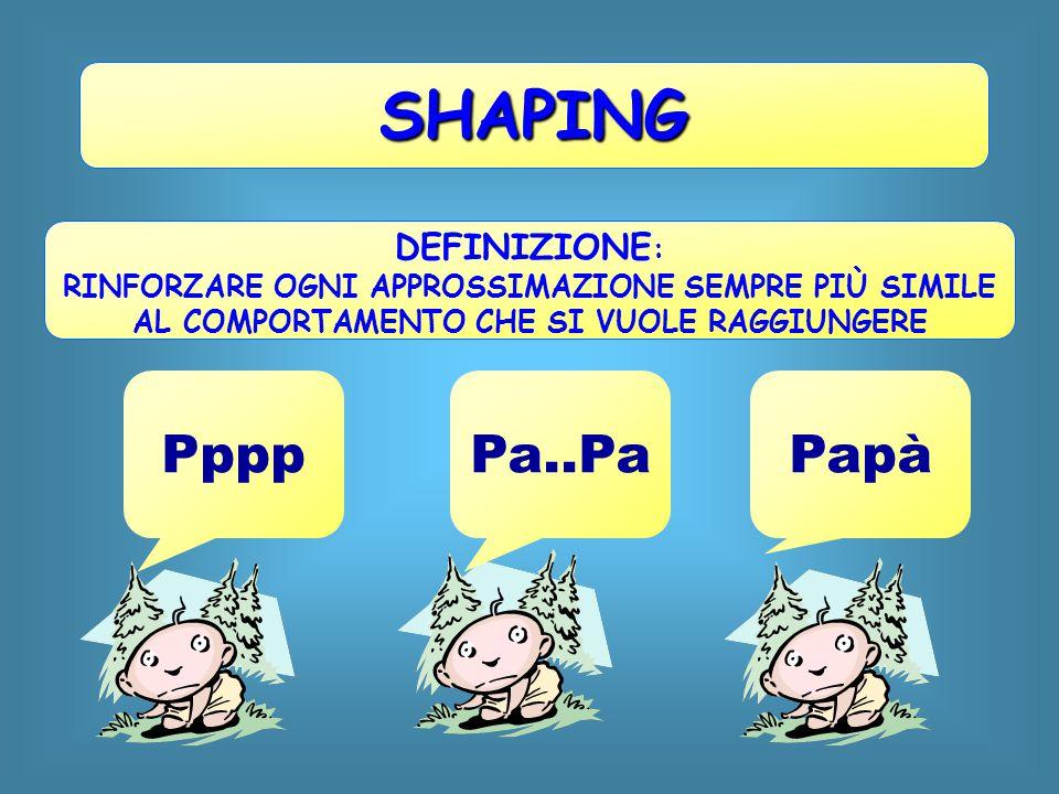 SHAPING DEFINIZIONE : RINFORZARE OGNI APPROSSIMAZIONE SEMPRE PIÙ SIMILE AL COMPORTAMENTO CHE SI VUOLE RAGGIUNGERE PpppPa..PaPapà