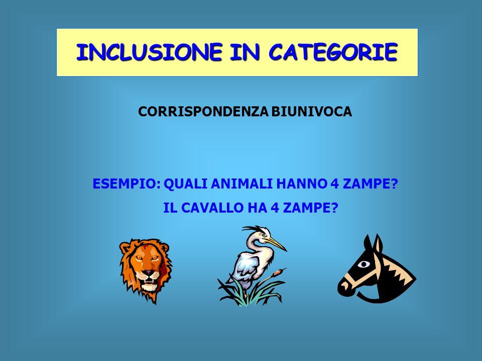 CORRISPONDENZA BIUNIVOCA ESEMPIO: QUALI ANIMALI HANNO 4 ZAMPE? IL CAVALLO HA 4 ZAMPE? INCLUSIONE IN CATEGORIE
