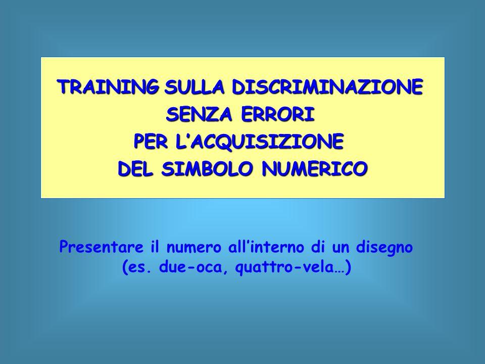 Presentare il numero all'interno di un disegno (es. due-oca, quattro-vela…) TRAINING SULLA DISCRIMINAZIONE SENZA ERRORI PER L'ACQUISIZIONE DEL SIMBOLO