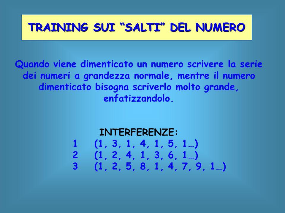 Quando viene dimenticato un numero scrivere la serie dei numeri a grandezza normale, mentre il numero dimenticato bisogna scriverlo molto grande, enfa