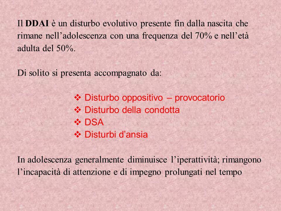 Il DDAI è un disturbo evolutivo presente fin dalla nascita che rimane nell'adolescenza con una frequenza del 70% e nell'età adulta del 50%. Di solito